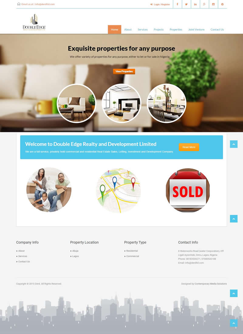 Derd website design contemporary media solutions for Apartment design and development ltd